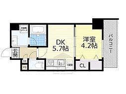 JR東海道・山陽本線 吹田駅 徒歩3分の賃貸マンション 5階1DKの間取り