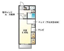 愛知県名古屋市緑区万場山1丁目の賃貸アパートの間取り
