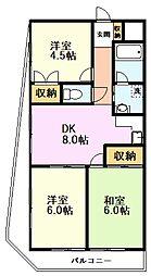 ホワイトセンチュリー三田 4階3DKの間取り