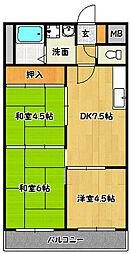 兵庫県神戸市北区鈴蘭台北町4丁目の賃貸マンションの間取り