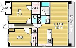 大阪府茨木市星見町の賃貸マンションの間取り