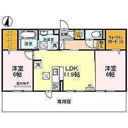 リート623E 3階2LDKの間取り