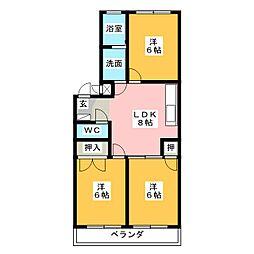 クレスガーデン[3階]の間取り