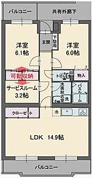 静岡県三島市富士ビレッジの賃貸マンションの間取り