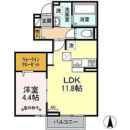 仙台市地下鉄東西線 川内駅 徒歩11分の賃貸アパート 1階1LDKの間取り
