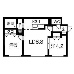 札幌市営南北線 幌平橋駅 徒歩8分の賃貸マンション 1階2LDKの間取り