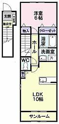 JR左沢線 東金井駅 徒歩22分の賃貸アパート 2階1LDKの間取り