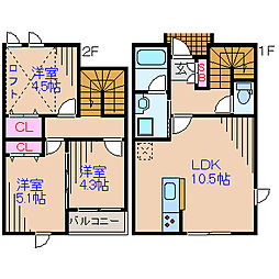 神奈川県横浜市港北区新吉田東7丁目の賃貸アパートの間取り