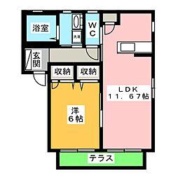 アネックス浅井D[1階]の間取り