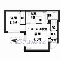 札幌市営南北線 中の島駅 徒歩8分の賃貸マンション 1階1LDKの間取り