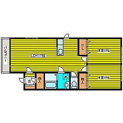 北海道札幌市東区北三十七条東16丁目の賃貸アパートの間取り