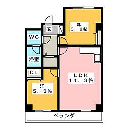 エムケー木戸[3階]の間取り