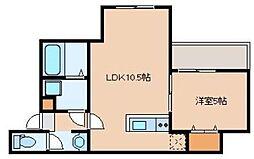 JR鹿児島本線 吉塚駅 徒歩10分の賃貸アパート 3階1LDKの間取り
