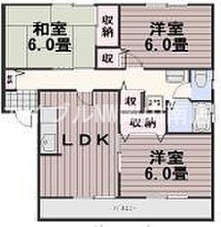 岡山県岡山市南区福吉町丁目なしの賃貸アパートの間取り