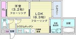 REGALEST榴岡公園 3階1LDKの間取り