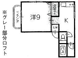 ロフトハウスYAMADA 1階1Kの間取り