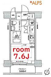 京急本線 戸部駅 徒歩8分の賃貸マンション 9階ワンルームの間取り