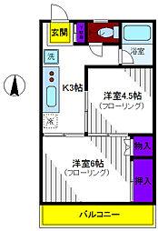 コーポ波多野[2階]の間取り