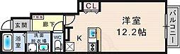 プラシード 1階ワンルームの間取り