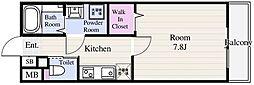 東京メトロ東西線 葛西駅 徒歩14分の賃貸マンション 3階1Kの間取り