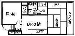 ロイヤルコーポ忠岡[203号室]の間取り