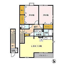 D-roomエクセルパークB[2階]の間取り