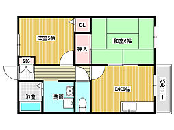兵庫県明石市小久保3丁目の賃貸マンションの間取り