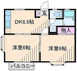 神奈川県横浜市港北区綱島西5丁目の賃貸アパートの間取り