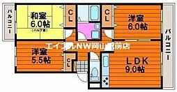 岡山県岡山市南区千鳥町丁目なしの賃貸マンションの間取り