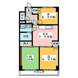 ビラペディメント[3階]の間取り