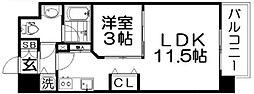 ロッカベラアパートメント 7階1LDKの間取り