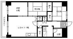 福岡県久留米市西町の賃貸マンションの間取り