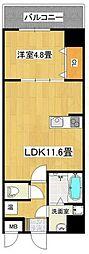 泉北高速鉄道 深井駅 徒歩4分の賃貸マンション 5階1LDKの間取り