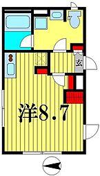 都営新宿線 菊川駅 徒歩5分の賃貸マンション 1階ワンルームの間取り