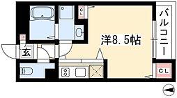 AXIA亀島 1階1Kの間取り