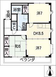 サンヴィラ篠田 B棟[2階]の間取り