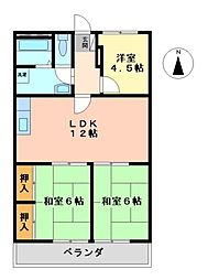 愛知県名古屋市中村区烏森町5丁目の賃貸マンションの間取り