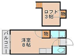 福岡県福岡市博多区金の隈1丁目の賃貸アパートの間取り