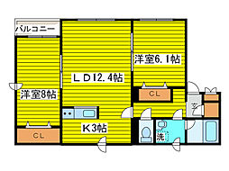 北海道札幌市東区北十三条東14丁目の賃貸アパートの間取り