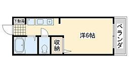 プレジール2 2階ワンルームの間取り