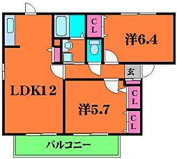 ヴィラコンフォート 2階2LDKの間取り