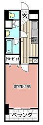 アヴィニールグランデ金田 9階1Kの間取り
