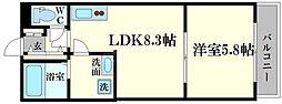 仮)森小路新築ハイツ 2階1LDKの間取り