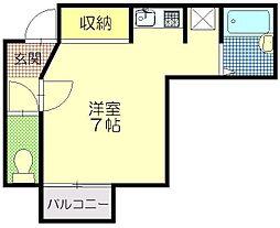 セジュールOASIS 2階ワンルームの間取り