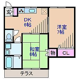 神奈川県横浜市鶴見区馬場1丁目の賃貸アパートの間取り