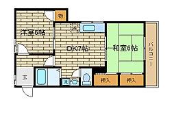 兵庫県神戸市須磨区車字梨川の賃貸マンションの間取り