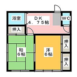 秀栄ハウス 2階2Kの間取り