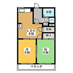 柿沢ハイツB[3階]の間取り