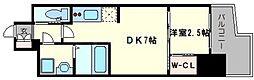 レジデンス難波南 2階1DKの間取り