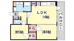 プレジール三ノ宮2[11階]の間取り